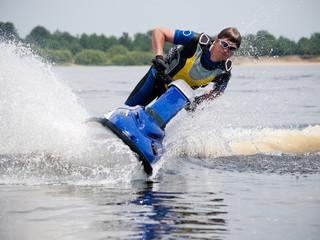 Man on jet ski very close