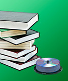 Pile of books  and DVD pack as symbols of old and new methods of poster