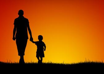 Silhouette di padre e figlio