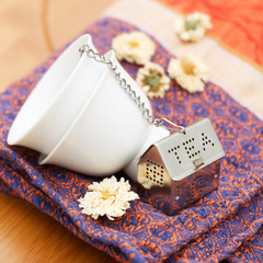 Tea Strainer with Stacked Small Cups