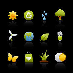 Icon Set in Black - Ecology