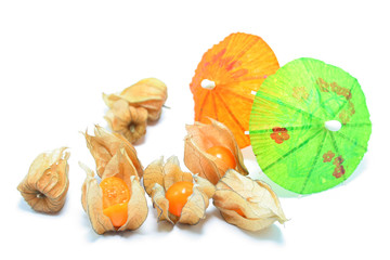 Physalis decorated with cocktail umbrellas