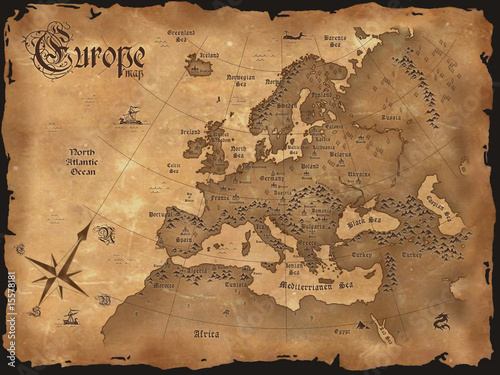 Vintage Europe map  horizontal