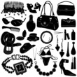 collection of women accessories vector