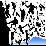 Fototapety collection of climber and equipments vector