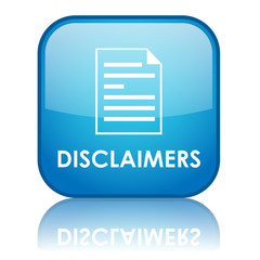 "Square ""DISCLAIMERS"" button with reflection (blue)"