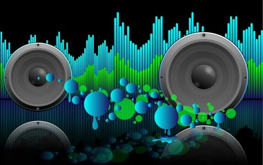 abstract music background with equaliser, speakers and splatters