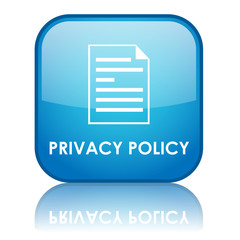 "Square ""PRIVACY POLICY"" button with reflection (blue)"