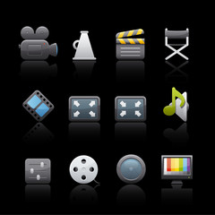 Icon Set in Black - Film Equipment