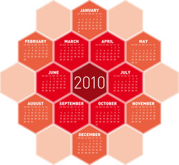 Red Calendar for year 2010 in an hexagonal pattern