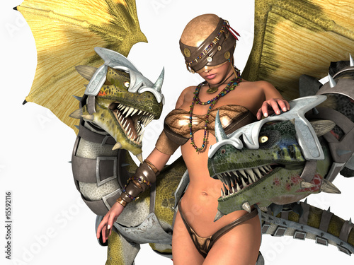 Deurstickers Draken druid woman with two dragons