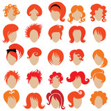 Big set of vector red hair styling 3