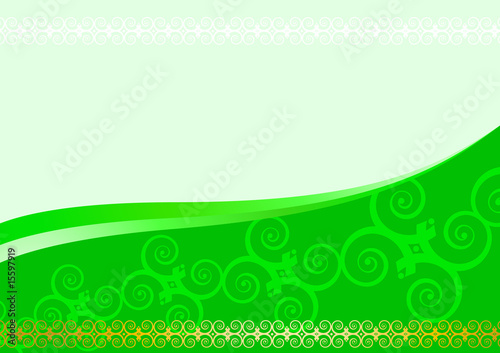 Green floral designed beautiful card; clip-art