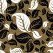 roleta: Seamless vintage beige pattern with leafs