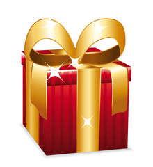 Beautiful red gift with golden bow