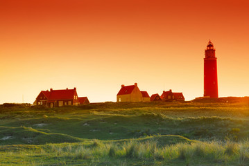 lighthouse orange sunrise