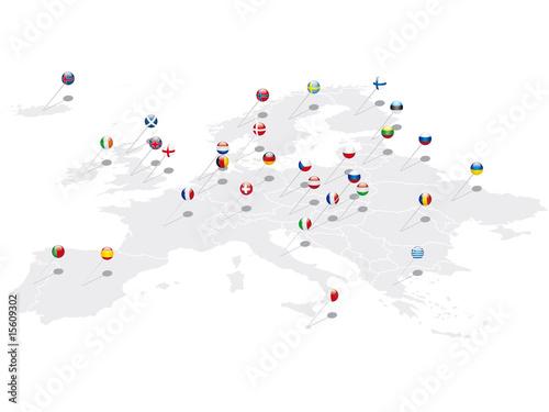 Europa Pins mit Flaggen