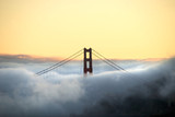 Golden Gate bridge through fog from Angel Island
