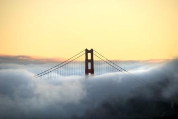 Golden Gate bridge through fog from Angel Island