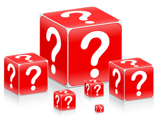 Question mark on boxes vector illustration