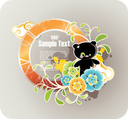 Round orange floral frame with grunge elements