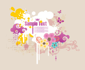 cartoon colored frame for text with flowers and grunge elements