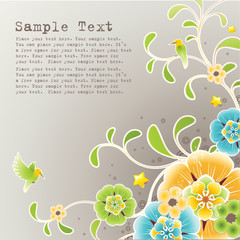 Spring background with floral ornament and grunge elements
