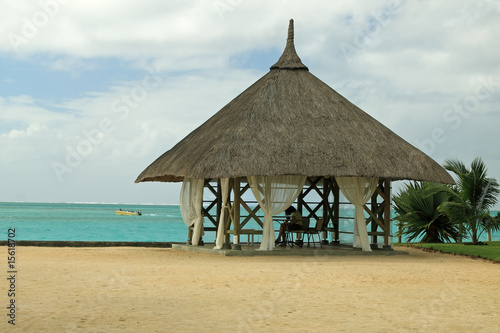 kiosque au toit de paille sur plage tropicale de unclesam. Black Bedroom Furniture Sets. Home Design Ideas