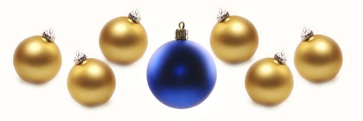 Christbaumkugeln in gold und blau matt