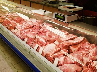 Selection of meat at a butcher shop