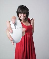 femme grande main souris réussite