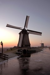 Ancient  windmill in the countryside from the Netherlands