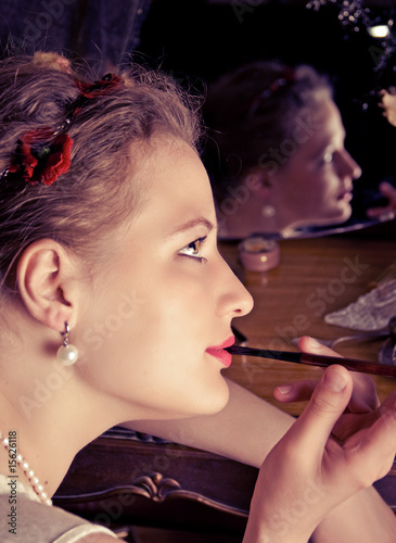 Retro portrait of young women with cigarette