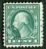 President on US vintage postmark poster