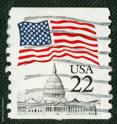 Us flag over Capitol on Us vintage postmark