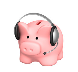 Piggy bank and headphone