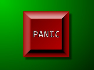 Panic button on green background