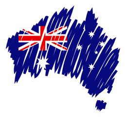 Australia mappa-bandiera