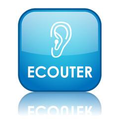 "Bouton carré ""ECOUTER"" avec reflet (bleu)"