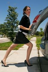 Professional Soccer Mom Closing Minivan Tailgate