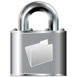 File folder or document icon on secure vector lock