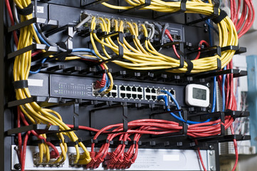 Network hub and patch cables in the rack