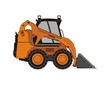 Vector illustration of compact excavator.