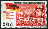 East Germany propaganda vintage  stamp poster