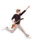 Cool guitarist jumping on white background