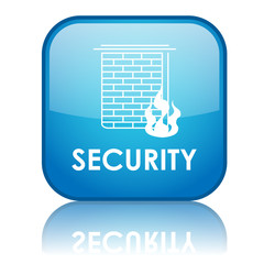 "Square ""SECURITY"" button with reflection (blue)"