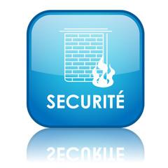 "Bouton carré ""SECURITE"" avec reflet (bleu)"
