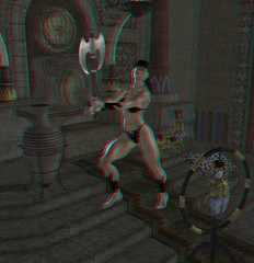 anaglyph image warrior. stunning 3d with red-blue-glasses