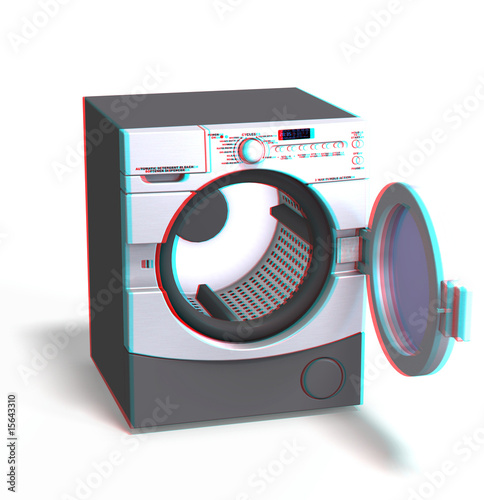 anaglyph image of a washing machine. use red-blue specs for 3d