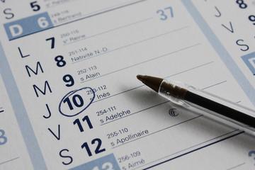 Evènnement ou rendez vous entouré sur calendrier